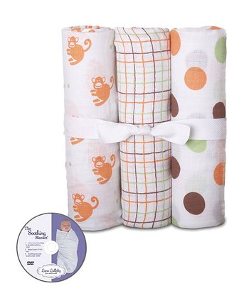 Monkey Around Swaddle Blanket & DVD Set