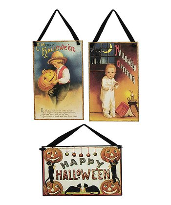 Vintage Halloween Postcard Wall Décor Set