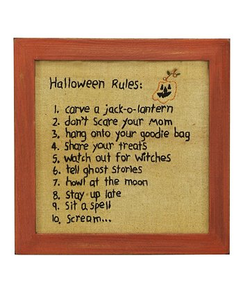Stitched 'Halloween Rules' Hanging Wall Décor