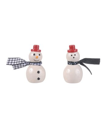 Blue Scarf Snowman Salt & Pepper Shakers