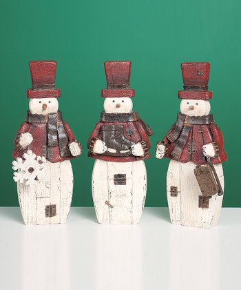 Country Snowman Figurine Set