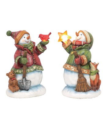 Feathered Friends Light-Up Snowman Figurine Set