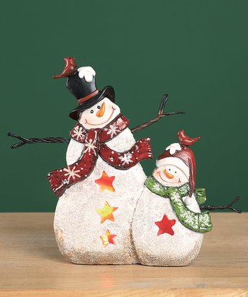 Cardinal Snowman Family LED Figurine