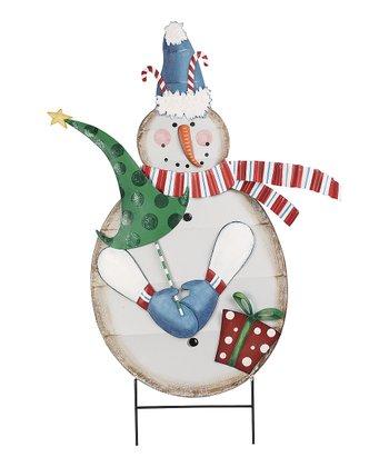 Candy Cane Snowman Garden Stake
