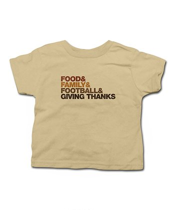 Khaki 'Food & Family & Football' Tee - Toddler & Kid
