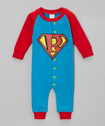 Blue & Red Super Baby Playsuit - Infant