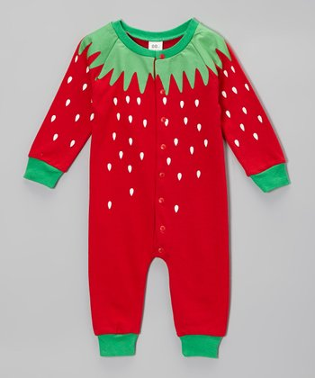 Red & Green Strawberry Playsuit - Infant