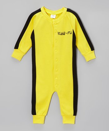 Yellow & Black 'Kung Fu' Playsuit - Infant