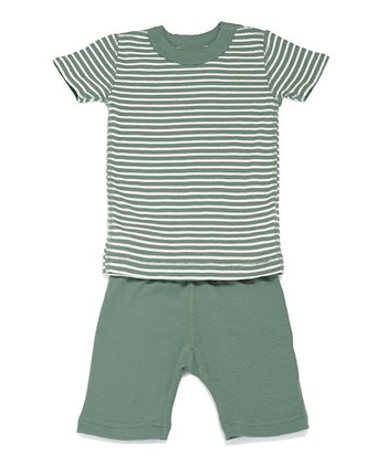 Moss & Cream Stripe Organic Pajama Top & Shorts - Infant & Boys