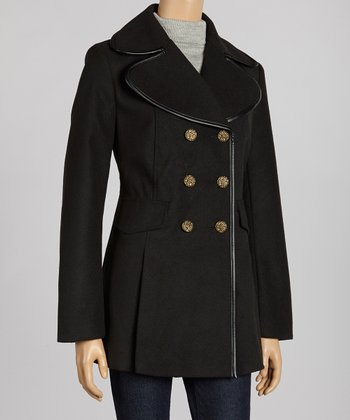Black and Gray Peacoat - Plus