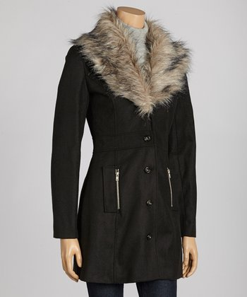 Black Faux Fur Coat - Women