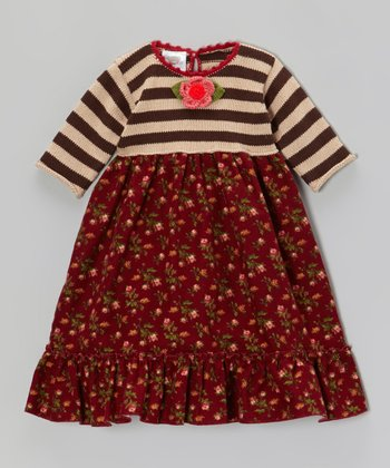 Brown Stripe & Floral Dress - Infant, Toddler & Girls