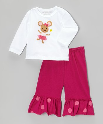 White Mouse Tee & Fuchsia Ruffle Pants - Infant & Toddler