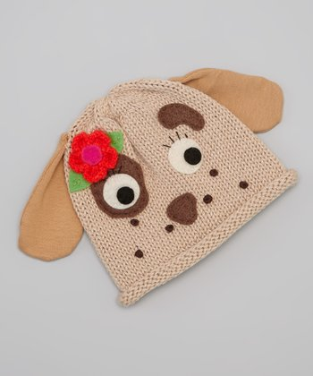 Eco Tan Flower & Dog Beanie