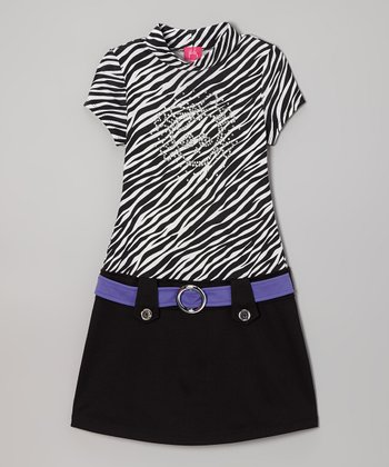 Black Zebra Marsha Dress - Girls