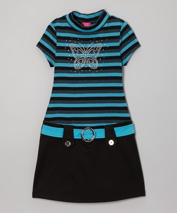 Turquoise Stripe Butterfly Marsha Dress - Girls