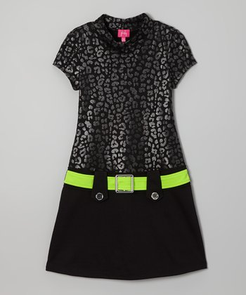 Gray & Black Cheetah Marsha Dress - Girls
