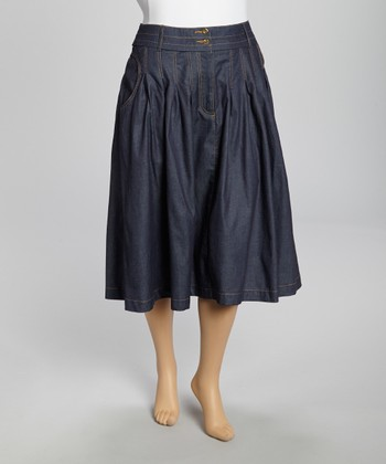 Navy Pleated Denim Skirt - Plus