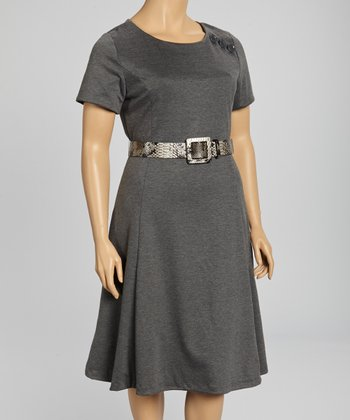 Charcoal Belted Short-Sleeve A-Line Dress - Plus