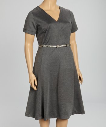 Charcoal Belted V-Neck Dress - Plus