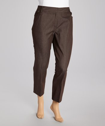 Chocolate Cropped Jeans - Plus