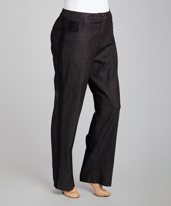 Black Tuxedo Lace-Stripe Jeans - Plus