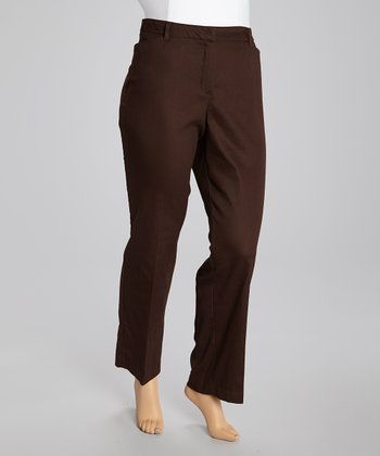 Chocolate Twill Straight-Leg Pants - Plus