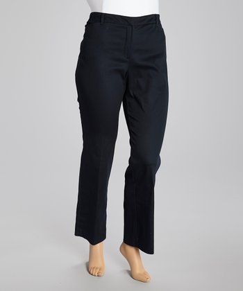 Deep Navy Twill Straight-Leg Pants - Plus