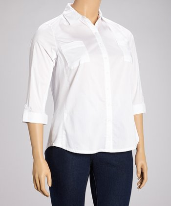 White Pocket Three Quarter-Sleeve Button-Up - Plus
