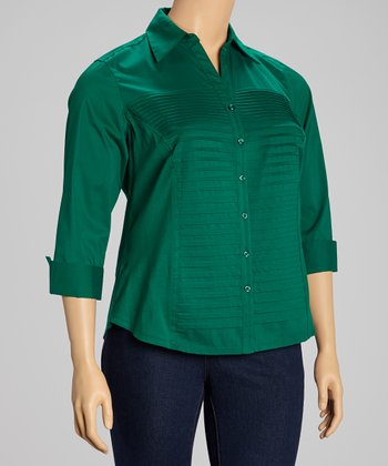 Emerald Pleated Three Quarter-Sleeve Button-Up - Plus