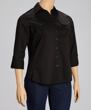 Black Flap Pocket Three Quarter-Sleeve Button-Up - Plus