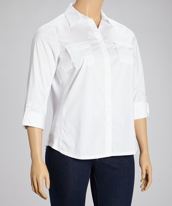 White Flap Pocket Three Quarter-Sleeve Button-Up - Plus