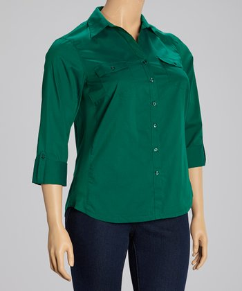 Emerald Flap Pocket Three Quarter-Sleeve Button-Up - Plus
