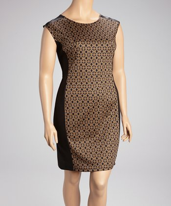 Taupe & Black Color Block Sleeveless Dress - Plus
