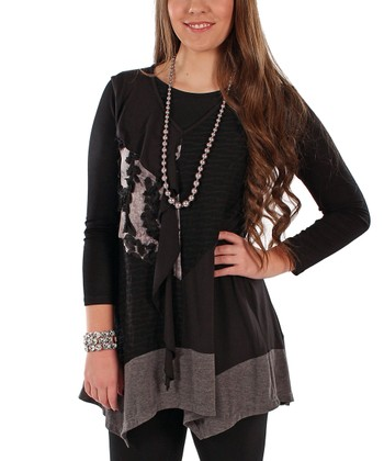 Black Patchwork Sleeveless Tunic - Plus
