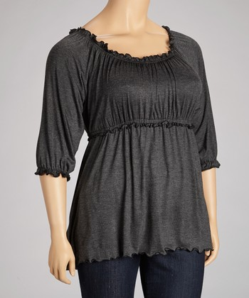 Charcoal Ruffle Scoop Neck Top - Plus