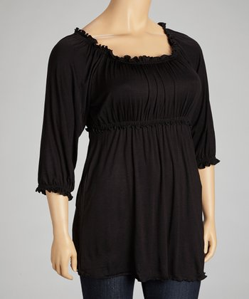 Black Ruffle Scoop Neck Top - Plus
