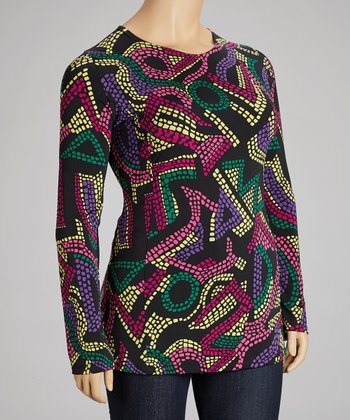 Black & Pink Mosaic Top - Plus