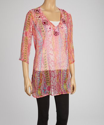 Fuchsia Sequin Three-Quarter Sleeve Tunic