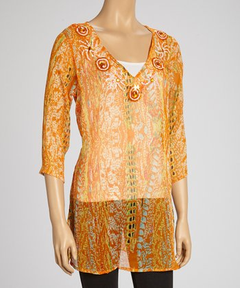 Orange Sequin Three-Quarter Sleeve Tunic