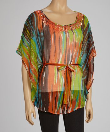 Orange Sequin Dolman Tunic