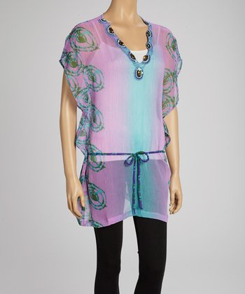 Lilac & Teal Embellished Cape-Sleeve Tunic