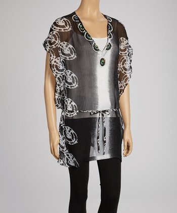 Black & White Embellished Cape-Sleeve Tunic