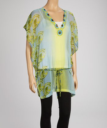 Lime & Gray Embellished Cape-Sleeve Tunic