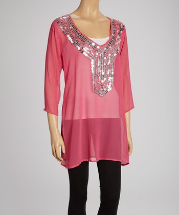 Fuchsia Mirror V-Neck Tunic
