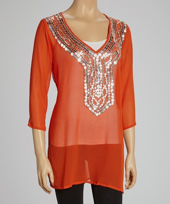 Orange Mirror V-Neck Tunic