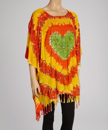 Yellow & Orange Tie-Dye Heart Tunic