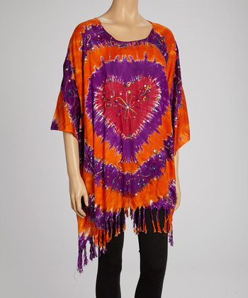 Orange & Purple Tie-Dye Heart Tunic