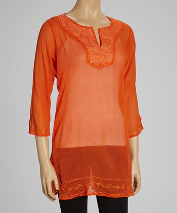 Orange Embroidered Tunic
