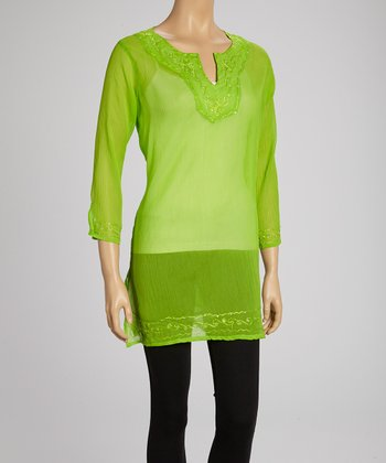 Lime Embroidered Tunic